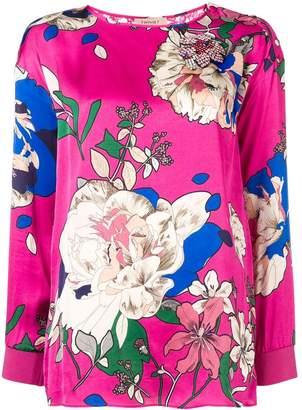 Twin-Set lace back floral satin blouse