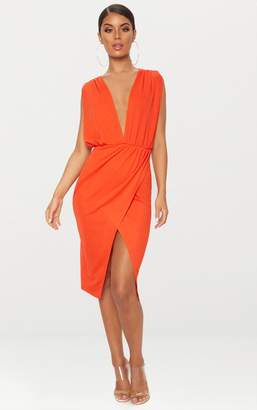 PrettyLittleThing Bright Orange Ruched Shoulder Plunge Midi Dress