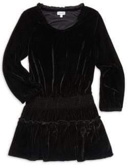 Ella Moss Girl's Ruffled & Smocked A-Line Velvet Dress
