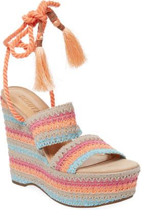 Schutz Bendy Crochet Wedge Sandal