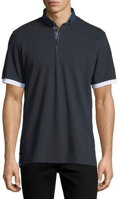 Maceoo Button-Down Contrast-Trim Polo Shirt