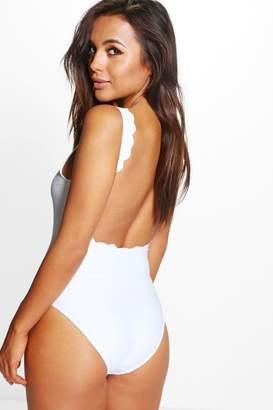 boohoo Petite Scallop Back Swimsuit