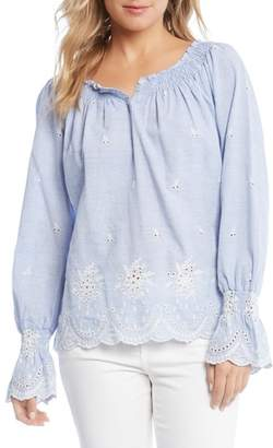 Karen Kane Bell Sleeve Embroidered Cotton Peasant Blouse
