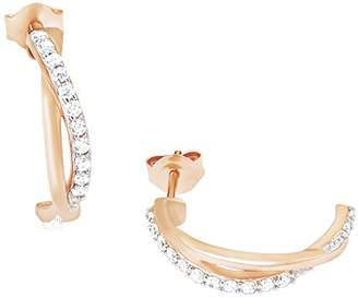 Amor Women's Creole Half Creoles 19 mm 925 sterling silver partially gold-plated Zirconia White 523257