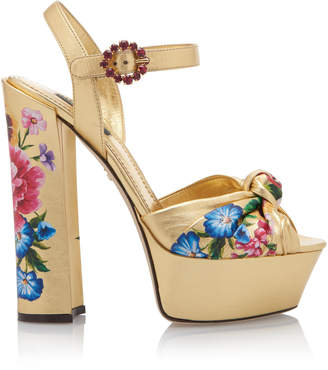Dolce & Gabbana Knotted Floral-Print Metallic Leather Platform Sandals
