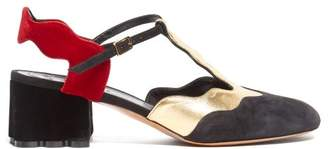 Marni Waved Velvet And Suede Sandals - Womens - Black Gold