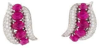 Valetin Magro Platinum Ruby & Diamond Clip-On Earrings NL-E98