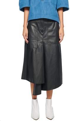 Tibi Tissue Leather High Waisted Draped Skirt