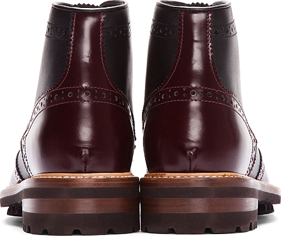 DSquared Dsquared2 Black & Burgundy Leather Othello Brogue Boots