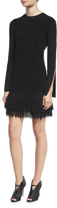 McQ Alexander McQueen Slit-Cuff Fringe Mini Dress, Darkest Black $550 thestylecure.com