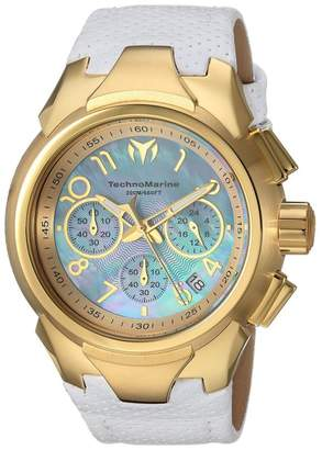 Technomarine Sea TM-715034 Gold Tone Stainless Steel & Leather Strap Quartz 42mm Womens Watch