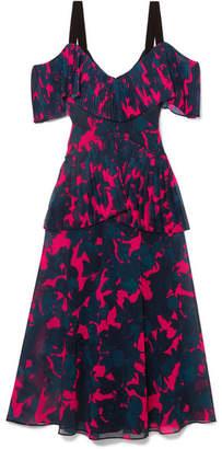 Jason Wu Cold-shoulder Pleated Floral-print Chiffon Midi Dress