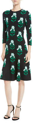 Carolina Herrera Floral Jacquard Long-Sleeve Dress