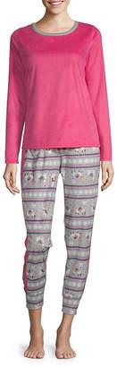 SLEEP CHIC Sleep Chic Microfleece Womens-Petite Pant Pajama Set 2-pc. Long Sleeve