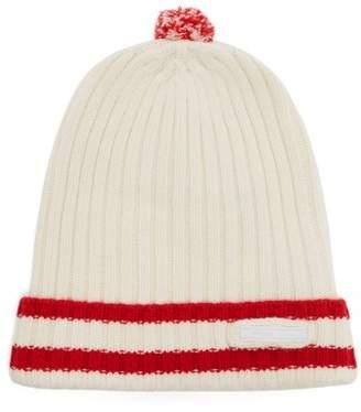 Prada Ribbed Knit Striped Wool Blend Pom Pom Hat - Mens - White Multi