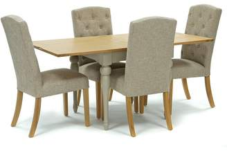 Willis & Gambier Oak And Painted 'Worcester' Flip-Top Table And 4 Beige 'Stanza' Chairs