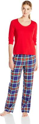 Nautica Sleepwear Women's Red and Navy Plaid Flannel Pajama Set