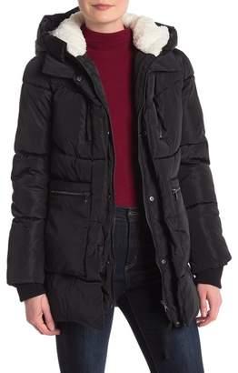 Steve Madden Faux Shearling Hood Puffer Jacket