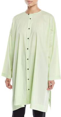 eskandar Round-Neck Long-Sleeve Wide A-Line Shirt w/ Pleated Edge Detail