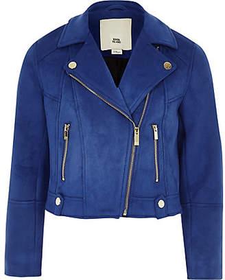 River Island Girls Blue faux suede biker jacket