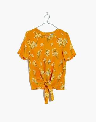 Madewell Silk Button-Back Tie Tee in Butterfly Garden