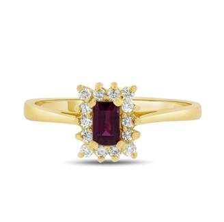18k Yellow Gold 0.65tcw Natural Diamond & Emerald Cut AA Ruby Halo Ring Size 8.25