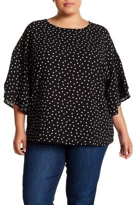 Bobeau Tiered Flutter Sleeve Printed Blouse (Plus Size)