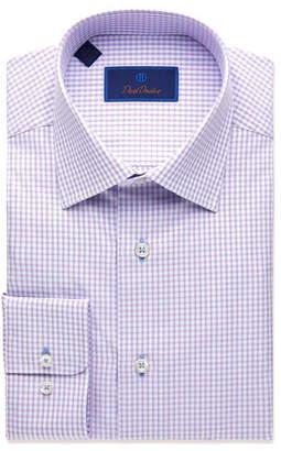 David Donahue Men's Regular-Fit Textured Plaid Dress Shirt