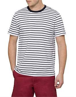 David Jones Navy Stripe Short Sleeve Top