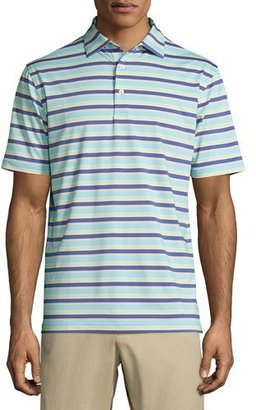 Peter Millar Boston Striped Performance Jersey Polo Shirt, Blue/Green/Orange $85 thestylecure.com
