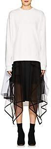 J KOO Women's Embroidered Cotton High-Low Sweatshirt - White