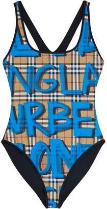 Burberry Graffiti Print Vintage Check Swimsuit