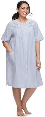 Miss Elaine Plus Size Essentials Short Seersucker Robe