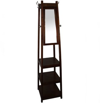 "Generic 72"" 3-Tier Cherry Tower Shoe/Coat Rack plus Mirror"