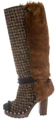 Chanel Fantasy Fur Tweed Boots Tan Fantasy Fur Tweed Boots