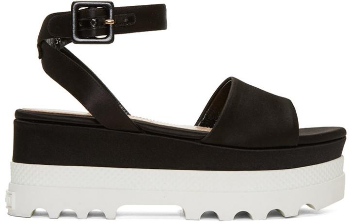 Miu MiuMiu Miu Black Satin Platform Sandals