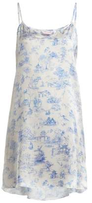 Derek Rose Brindisi 27 Silk Nightdress - Womens - Blue Print