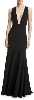 Penelope Sleeveless Stretch Jersey Mermaid Gown, Black