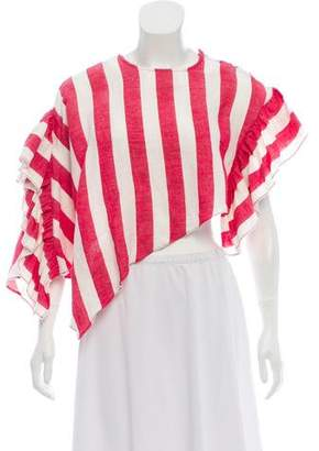 Marques Almeida Marques' Almeida One-Sleeve Asymmetrical Striped Ruffle Top w/ Tags