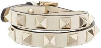 Valentino Leather Rockstud Double-Wrap Bracelet