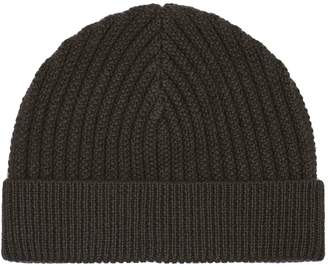 Reiss Overton - Ribbed Beanie Hat in Deep Green