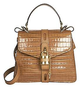 Chloé Women's Aby Crocodile-Embossed Leather Top Handle Bag