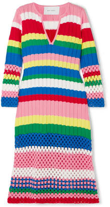 Mira Mikati Striped Ribbed And Crocheted Cotton Dress - Pink