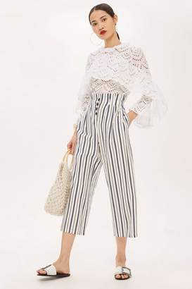 Topshop Striped Button Detail Culottes