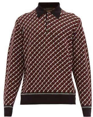 Prada Geometric Jacquard Long Sleeved Polo Shirt - Mens - Black Burgundy