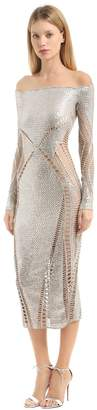 Julien Macdonald Sequined Off The Shoulders Knit Dress