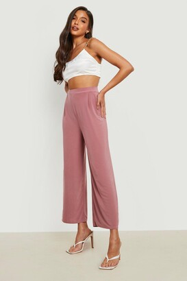 boohoo Slinky Pleated Wide Leg Cropped Trousers