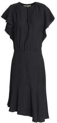 Vanessa Bruno Asymmetric Fluted Satin-Crepe Dress