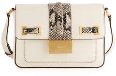 Donna Karan Kami Leather Snake-Print Crossbody Bag