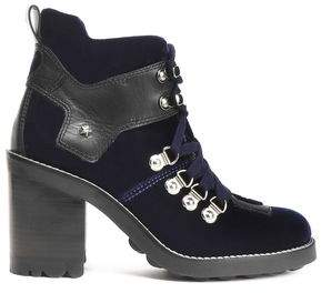 Isa Tapia Lace-Up Leather-Trimmed Velvet Ankle Boots